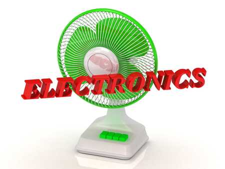 color fan: ELECTRONICS- Green Fan propeller and bright color letters on a white background