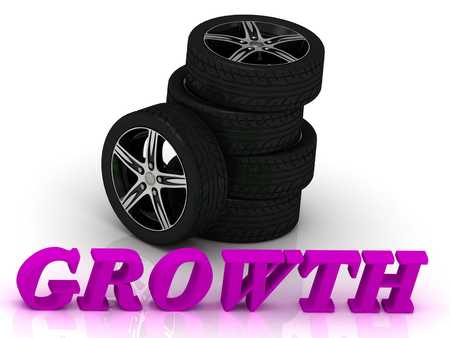 rims: GROWTH- bright letters and rims mashine black wheels on a white background Stock Photo