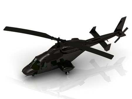 military helicopter: Military helicopter landing on white background