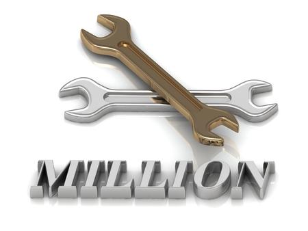 million: MILLION- inscription of metal letters and 2 keys on white background