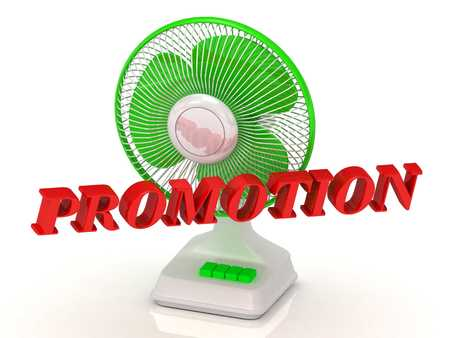 color fan: PROMOTION- Green Fan propeller and bright color letters on a white background