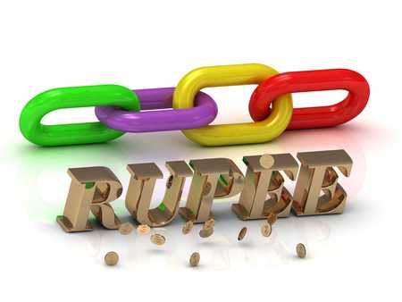 kip: RUPEE- inscription of bright letters and color chain on white background