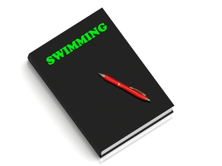 profundity: SWIMMING- inscription of green letters on black book on white background