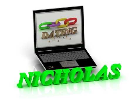 nicholas: NICHOLAS- Name and Family bright letters near Notebook and  inscription Dating on a white background