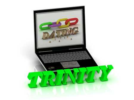 trinity: TRINITY- Name and Family bright letters near Notebook and  inscription Dating on a white background Stock Photo