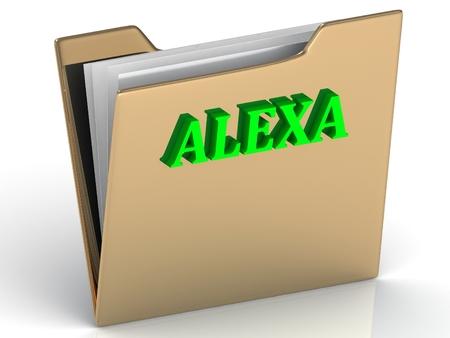 alexa: ALEXA- bright green letters on gold paperwork folder on a white background