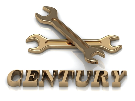 century: CENTURY- inscription of metal letters and 2 keys on white background