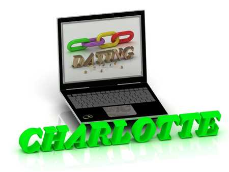 charlotte: CHARLOTTE- Name and Family bright letters near Notebook and  inscription Dating on a white background