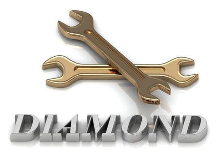jewelry background: DIAMOND- inscription of metal letters and 2 keys on white background