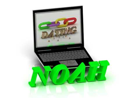 noah: NOAH- Name and Family bright letters near Notebook and  inscription Dating on a white background Stock Photo