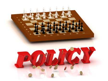 ltc: POLICY - inscription of color letters and chess on white background Stock Photo