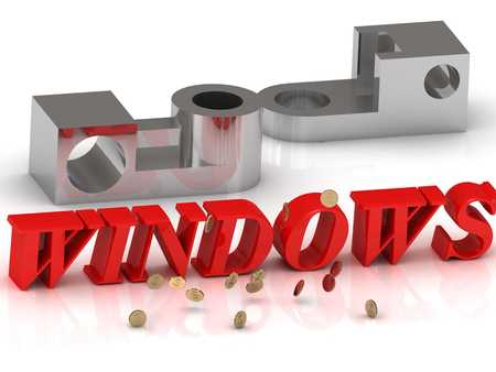 sill: WINDOWS- inscription of red letters and silver details on white background