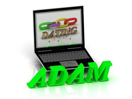 adam: ADAM- Name and Family bright letters near Notebook and  inscription Dating on a white background