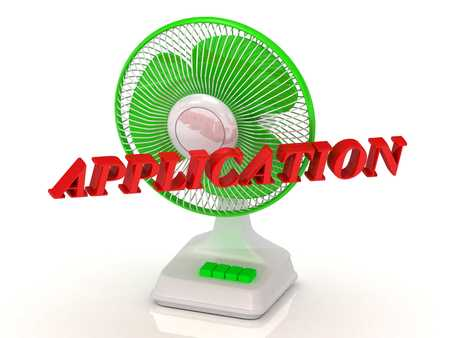 color fan: APPLICATION - Green Fan and bright color letters on a white background