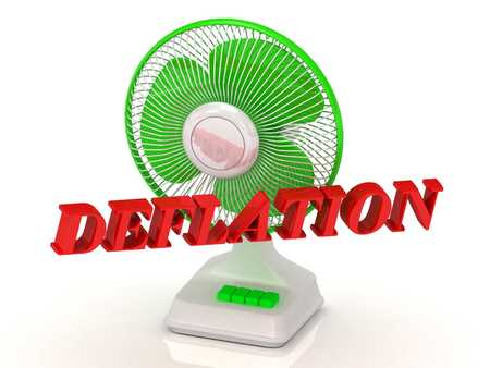 chafe: DEFLATION- Green Fan propeller and bright color letters on a white background Stock Photo