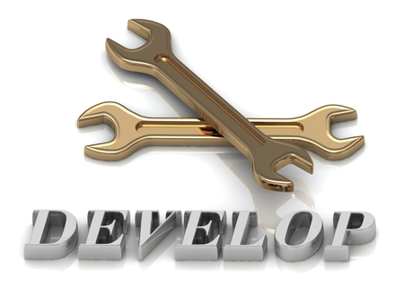 metal letters: DEVELOP- inscription of metal letters and 2 keys on white background Stock Photo