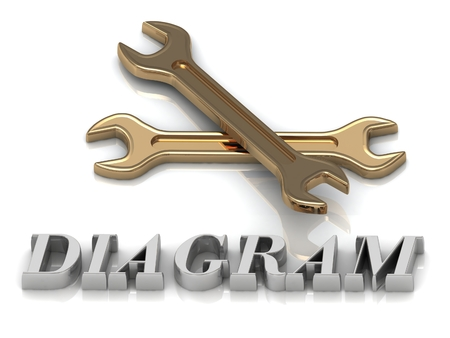 metal letters: DIAGRAM- inscription of metal letters and 2 keys on white background
