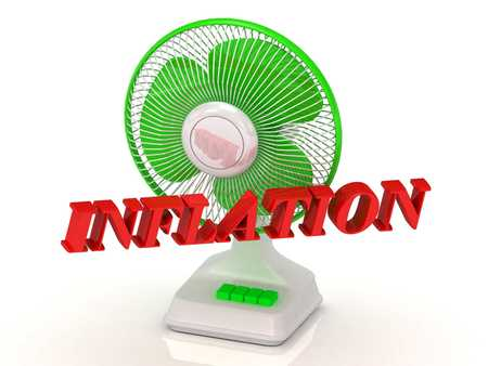 color fan: INFLATION- Green Fan propeller and bright color letters on a white background