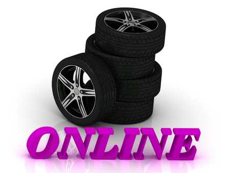 rims: ONLINE- bright letters and rims mashine black wheels on a white background