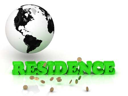 residence: RESIDENCE- bright color letters, black and white Earth on a white background Stock Photo