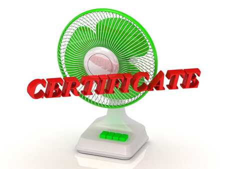 color fan: CERTIFICATE- Green Fan propeller and bright color letters on a white background