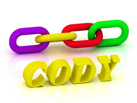 cody: CODY- Name and Family of bright yellow letters and chain of green, yellow, red section on white background Stock Photo