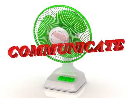 color fan: COMMUNICATE- Green Fan propeller and bright color letters on a white background Stock Photo