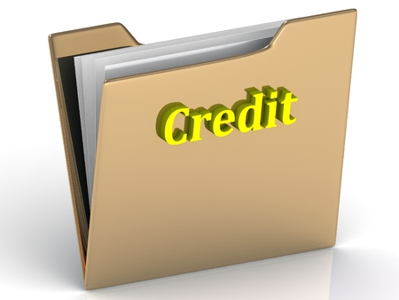 crypto: Credit- bright color letters on a gold folder on a white background