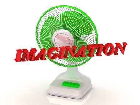 imagine a science: IMAGINATION- Green Fan propeller and bright color letters on a white background