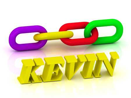 kevin: KEVIN- Name and Family of bright yellow letters and chain of green, yellow, red section on white background Stock Photo