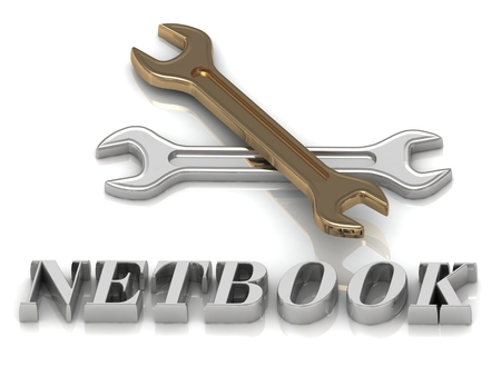 netbook: NETBOOK- inscription of metal letters and 2 keys on white background Stock Photo