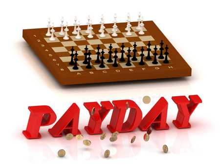 ltc: PAYDAY- inscription of color letters and chess on white background