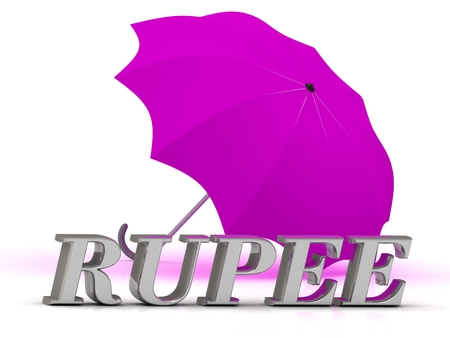 rupee: RUPEE- inscription of silver letters and umbrella on white background