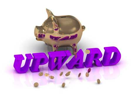 price gain: UPWARD- inscription of green letters and gold Piggy on white background