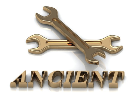 metal letters: ANCIENT- inscription of metal letters and 2 keys on white background