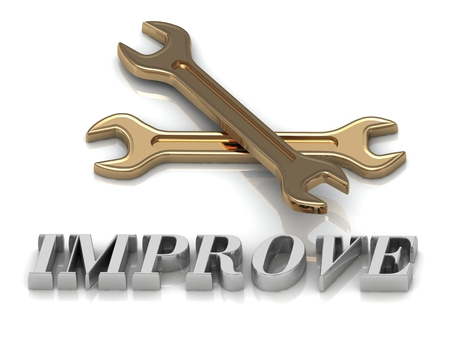 metal letters: IMPROVE- inscription of metal letters and 2 keys on white background