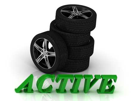 rims: ACTIVE- bright letters and rims mashine black wheels on a white background