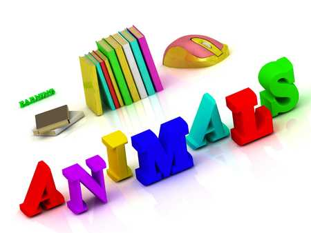 lion and lamb: ANIMALS - inscription bright volume letter and textbooks and computer mouse on white background