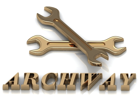 metal letters: ARCHWAY- inscription of metal letters and 2 keys on white background