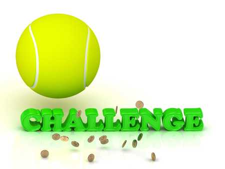 sports symbols metaphors: CHALLENGE- bright green letters, tennis ball, gold money on white background Stock Photo