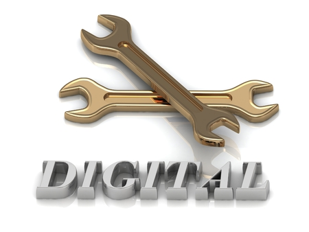 metal letters: DIGITAL- inscription of metal letters and 2 keys on white background Stock Photo