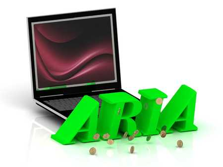 aria: ARIA- Name and Family bright letters near Notebook and  inscription Dating on a white background