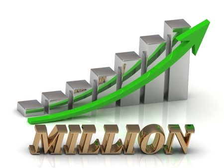 million: MILLION- inscription of gold letters and Graphic growth and gold arrows on white background