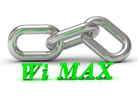 internet terminals: Wi MAX- inscription of color letters and Silver chain of the section on white background