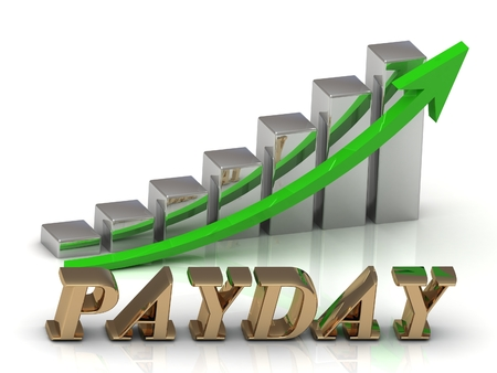 payday: PAYDAY- inscription of gold letters and Graphic growth and gold arrows on white background Stock Photo