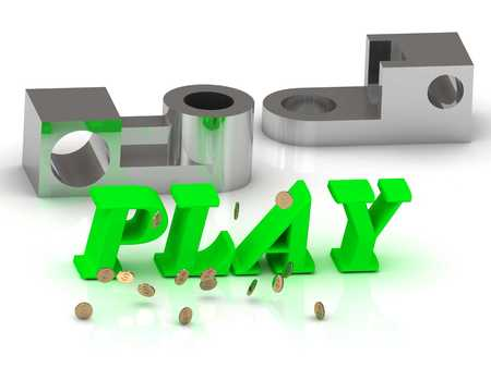 PLAY- words of color letters and silver details on white background