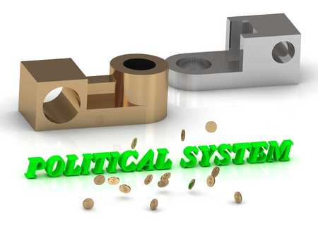 political system: POLITICAL SYSTEM - inscription of red letters and golden details on white background