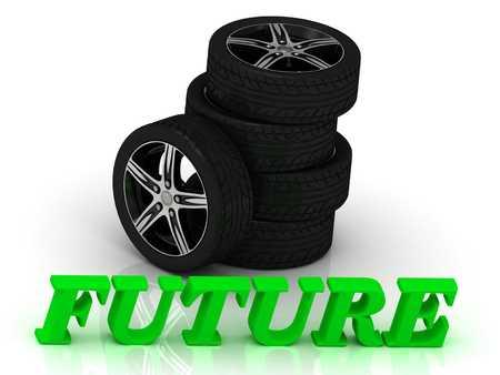 rims: FUTURE- bright letters and rims mashine black wheels on a white background