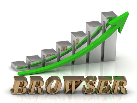 surfing the net: BROWSER- inscription of gold letters and Graphic growth and gold arrows on white background Stock Photo