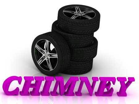 rims: CHIMNEY- bright letters and rims mashine black wheels on a white background